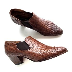 Sesto Meucci Rusty Brown Woven Leather Ankle Boots